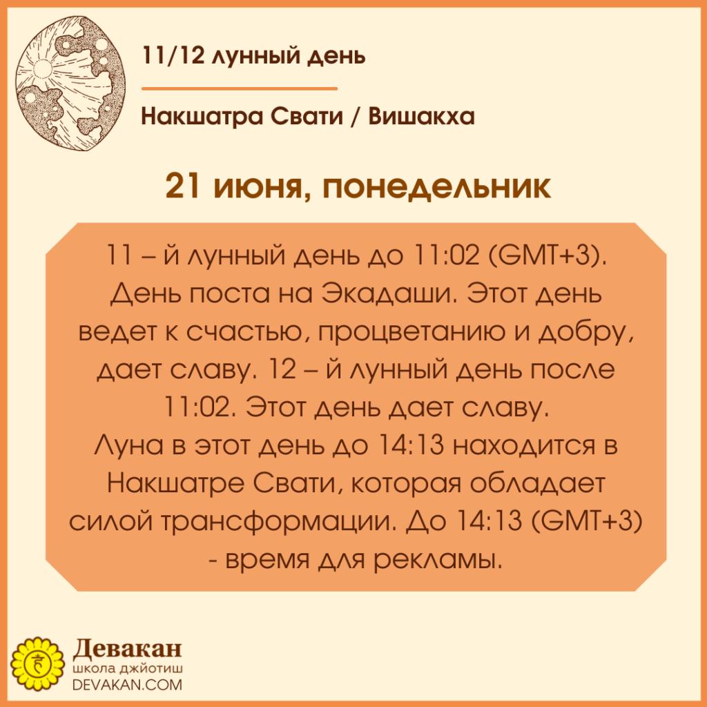 Лунный календарь и Гороскоп на неделю с 21 по 27 июня 2021 1
